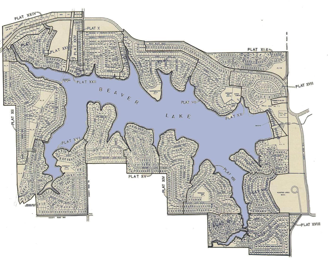 Beaver Lake Large Plat Map